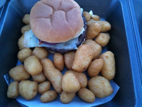 Burger+cheese curd