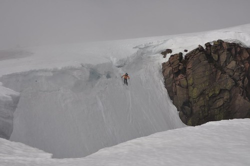 Skier dropping off Braeriach