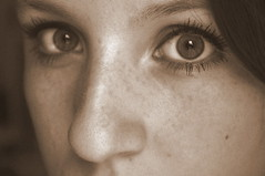 (Awaiting September) Tags: eye face up look nose see eyes close freckles moles