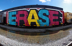 ERASE (TRUE 2 DEATH) Tags: street railroad autostitch panorama streetart art train graffiti pano tag graf traintracks trains panoramic railcar font spraypaint boxcar gac railways stitched railfan freight erase freighttrain autostitched rollingstock wholecar gns autopano  stitchedpanorama e2e autopanopro stitchted benching freighttraingraffiti