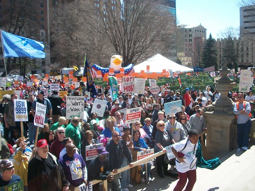 Ten thousand trade unionists and their supporters demonstrated at the Michigan State Capitol in Lansing on April 13, 2011. They were demanding an end to austerity measures in the state. (Photo: Abayomi Azikiwe) by Pan-African News Wire File Photos