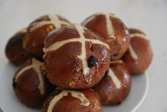 Julia' Chocolate Hot Cross Buns with Walnuts and Cranberries