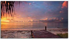 Platform To Paradise (itsgottabered) Tags: ocean sea water clouds sunrise canon dawn golden pier sand jetty ngc calm driftwood pinkclouds 1740l beachmere hitechfilters 5dmkii