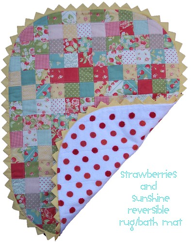 strawberries and sunshine reversible rug bath mat