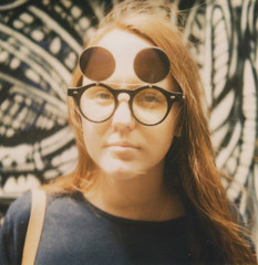 (D. L. O'Donnell) Tags: film girl hair polaroid sx70 glasses 600 naomi expired oldmate