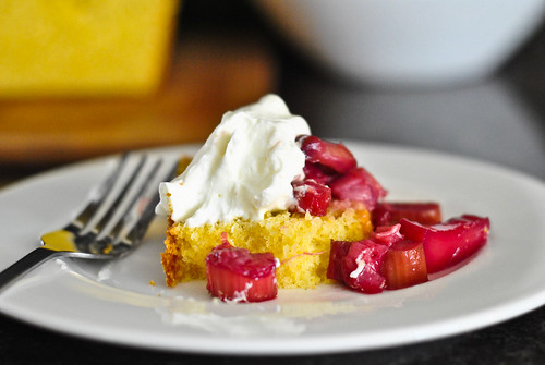 cornmeal cake with rhubarb compote
