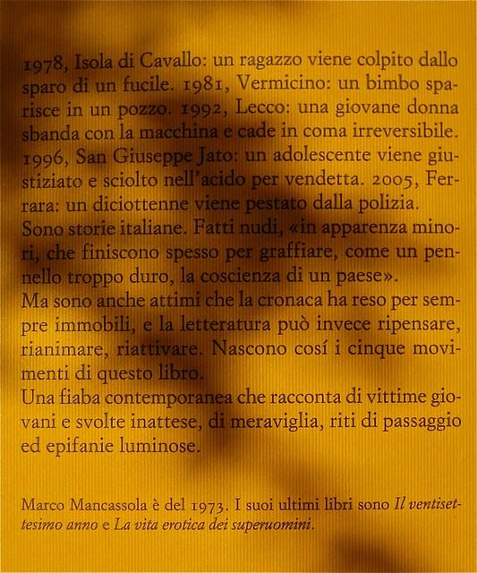 Marco Mancassola, Non saremo confusi per sempre, Einaudi 2011; Progetto grafico di Bianco, alla cop.: foto Stephen Carrol / Trevillon images; q. di cop. (part.), 1