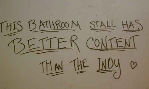 SUNY Purchase, bathroom stall, writing, school newspaper, Better Than the Indy