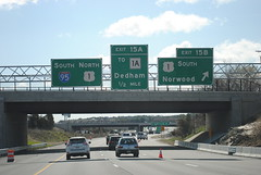 I-95/MA 128 southbound-Dedham, MA (I.C. Ligget) Tags: road signs green sign ma big massachusetts freeway interstate expressway mass bgs