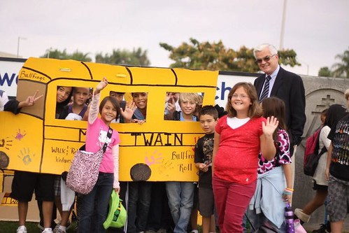 Walking School Bus, City of Riverside, a photo by Safe Routes to School California, photo credit: G. Carlson on Flickr.