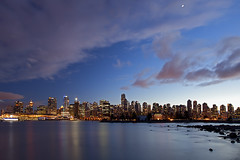 Vancouver Skyline at Dusk (Claire Chao) Tags: blue winter sunset canada color colour tree colors vancouver twilight glow cityscape colours purple harbour dusk britishcolumbia stanleypark nightview coalharbor citylight aftersunset sunsetview brokencloud cloudywb canoneos5dmarkii cityscapereflection 6500k10 nightviewvancouver