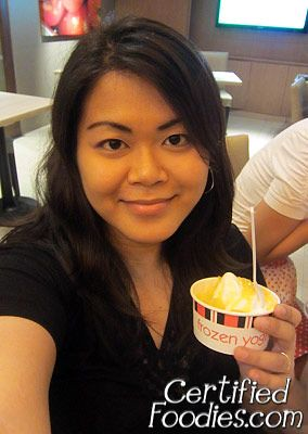 Me and my cup of Kenny Rogers Roasters' Frozen Yoghurt with mangoes - CertifiedFoodies.com