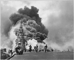 USS BUNKER HILL hit by two Kamikazes in 30 seconds on 11 May 1945 off Kyushu. Dead-372. Wounded-264., 1943 - 1958
