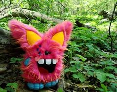 Yactak (Green Elevator) Tags: pink blue cute monster fur rainbow fuzzy handmade crafts magic horns felt ox plush softie stuffedanimal plushie handsewn etsy fleece whimiscal toothysmile fauxfur yearoftheox frenchknots greenelevator wonkeyeyes meganbarbour