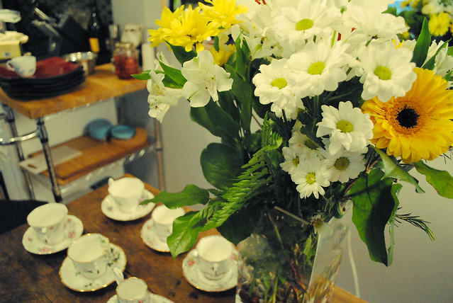 Fresh Flowers and Nana's Tea Cups