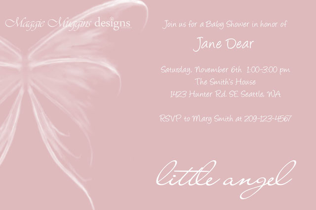 Sweet Little Angel Shower Invitation