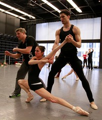 Fabrice Calmels rehearsing Bells (with choreographer Yuri Possokhov and dancer Valerie Robin)