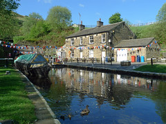 Tunnel End Cottages (jrw080578) Tags: trees buildings reflections canal yorkshire ducks huddersfieldnarrowcanal canalsidehouse