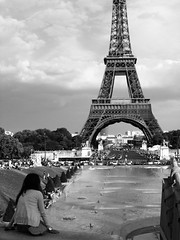 Paris, je t'aime ( ) Tags: sky blackandwhite cloud girl alone eiffeltower parisfrance