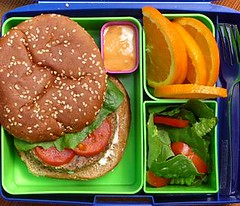 The Ultimate Veggie Burger (Laptop Lunches) Tags: salad vegetarian lunchboxes oranges veggieburger thousandislanddressing laptoplunches kidslunchboxes adultlunchboxes ecofriendlylunchbox environmentallyfriendlylunchbox