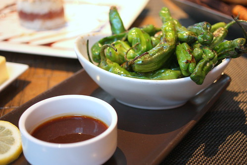 seared mild shishito peppers