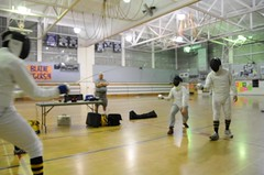 2 versus 2 Epee (SQKnSEA) Tags: seattle sports washington fencing recreation gym epee fourpeople communitycenter fdl 2v2 2on2
