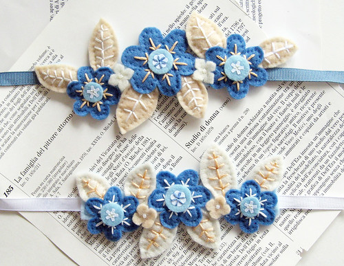 Blue felt flower cuff bracelets