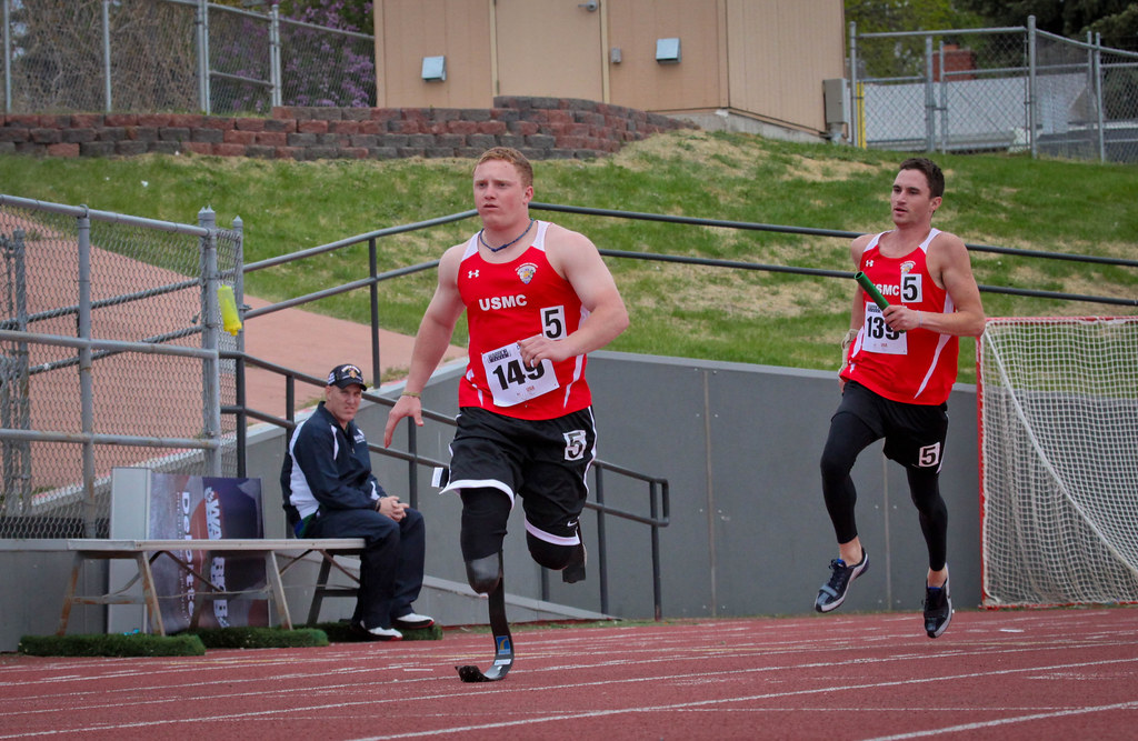 Marines compete in the 4x100-meter relay
