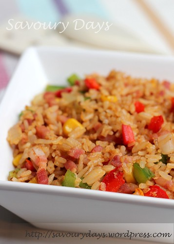Fried rice with bacon, paprika & BBQ sauce