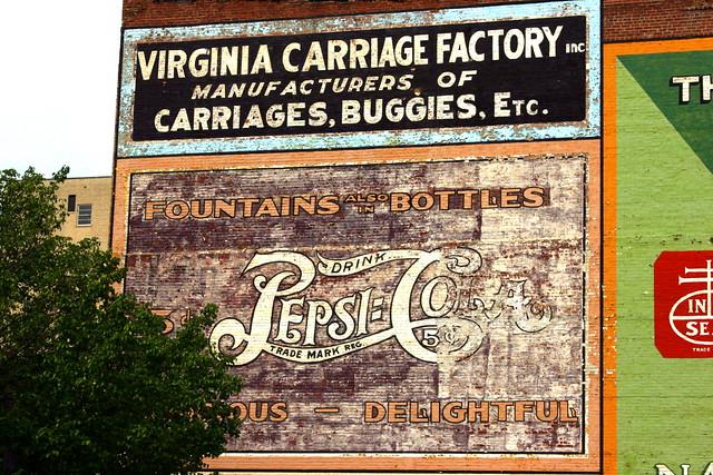 Vintage Pepsi Cola wall ad - Roanoke, VA