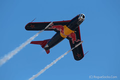 mig-15-redbull-flying-demonstration-aviation-nation-nellis-afb-nevada-2009-002.jpg (RogueSocks) Tags: usa aircraft nevada mig15 militaryaircraft nellisafb northlasvegas aviationnation nellisairforcebase demonstrationaircraft aviationnation2009 redbullmig15 nevadaafb koreanwarjets