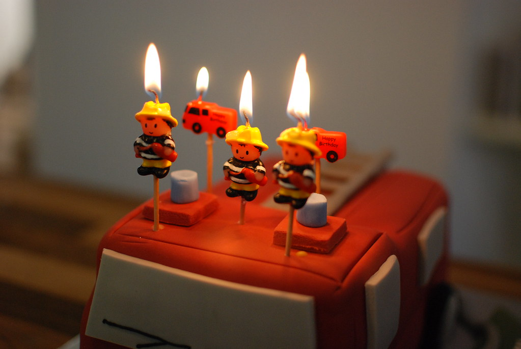 Firemen On Fire Furtive Tags Cake Candles Flame Fireman Fireengine