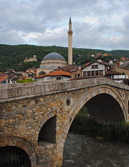 The Ottoman Bridge (June 15) (BarbaraHallPhotography) Tags: travel bridge architecture europe minaret religion mosque prizren kosovo balkans project3652011
