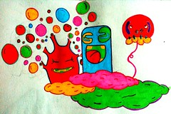 Imagination doodle (skeemerdean) Tags: colour lines illustration clouds graffiti funny paint character c doodle grin rough quick dudle imagry