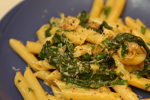Penne with Spinach, Bacon, Shallots, and Cream