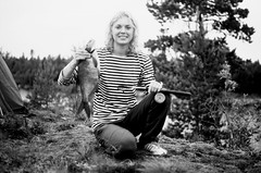 Bream fishing, Ladoga (Iurii & Natali) Tags: portrait girl bream fishing sailor nature ladoge russia summer smile agfa scala praktica mtl5 m42 analogue