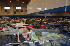Service members attached to Joint Task Force Guantanamo Bay take shelter inside Denich Gym before Hurricane Matthew hits Naval Station Guantanamo Bay. (Official U.S. Navy Imagery) Tags: hurricanematthew storm gtmo meteorology weather shelter evacuation navy usnavy navalstationguantanamobay cuba