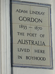 Photo of Adam Lindsay Gordon white plaque
