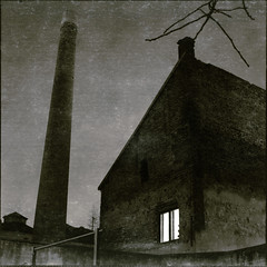 E / 15 (OverdeaR [donkey's talking monkey's nodding]) Tags: old roof chimney bw building 120 6x6 film window night zeiss yard mediumformat square long exposure nocturnal tl branches jena scan mc smokestack carl scanned ddr belgrade pentacon grad six crossroads beograd f28 stari p6 80mm splotches orwo majka eseries biometar 8028 np22 singidunum homedev dorol autaut 100ei
