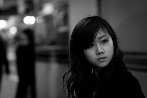フリー写真素材, 人物, 女性, アジア女性, モノクロ写真,