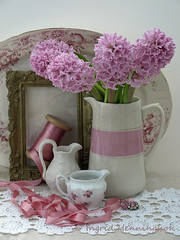 Pink Hyacinths in Pink Vase (Of Spring and Summer) Tags: pink flowers stilllife inspiration flower art home nature floral bulb vintage garden photography gold design beads ribbons lace antique interior creative fabric frame stems jug bulbs romantic ribbon plates antiques jugs cottagestyle vases fabrics pictureframe tablecloths shabbychic hyacynths ofspringandsummer prettystems