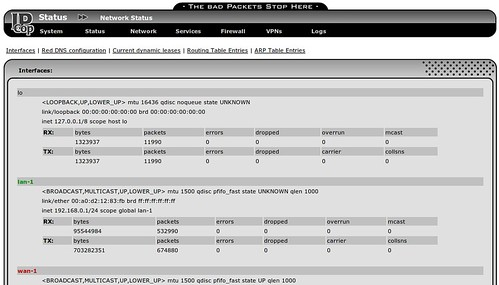 network status ipcop