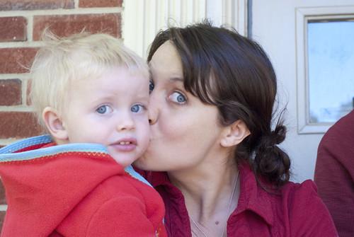 finn and mama at lachlan's homecoming