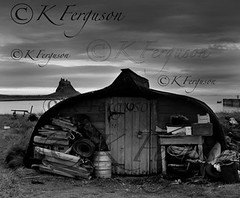 Fishing Hut Holy Island Mono (kirstyferguson) Tags: sea blackandwhite beach contrast landscape island boat fishing monotone holy northumberland british northeast atmospheric lindisfarne britishcoastline britishseascapes
