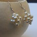 Cream ball sterling silver earrings