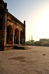 distant minarets (parth joshi) Tags: dawn cycling child squirrell muses desolate mehrauli monumentsindelhi bhattimines adamkhanstomb