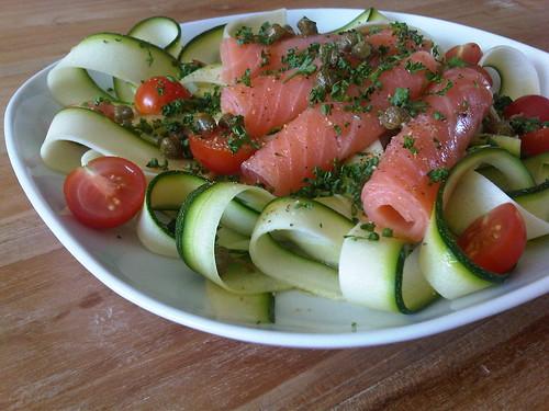 Smoked salmon zucchini salad