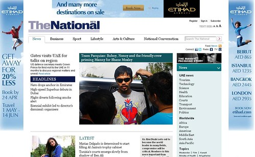 Manny Pacquiao in the UAE's The National