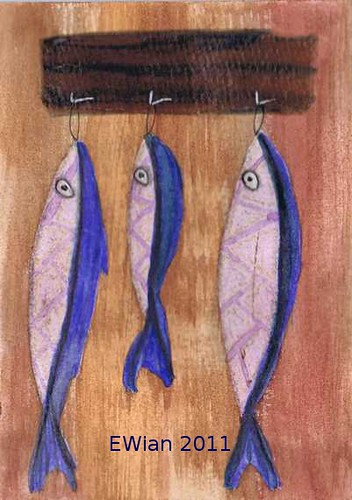 three little fishes hanging in a row 6