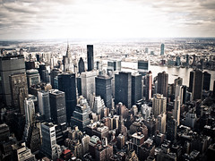 high, higher, highest - new york city (pamela ross) Tags: sky usa cloud newyork building america pen high day view unitedstates cloudy horizon olympus eastriver chryslerbuilding ep1 17mm mft